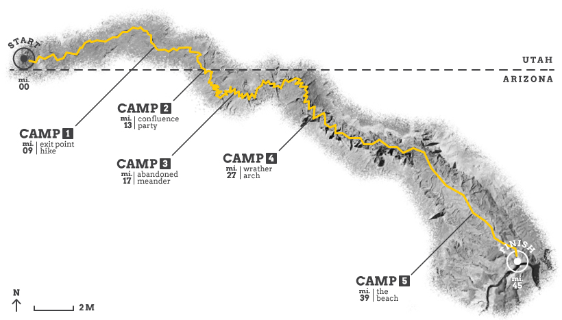 Map of Paria Canyon hike.